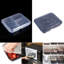 10pcs 3 Compartments Food Storage Containers w/ Lids Bento Lunch Box Picnic Microwave Safe