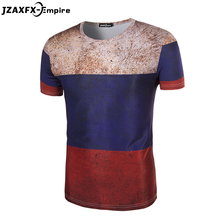 New Arrival Men Print Russia Flag T-shirt Short Sleeve O Neck Male Vintage work Great Russian Empire Pattern T Shirt