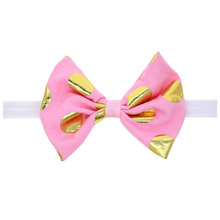 5inch Large Top Bows Golden Polka Dots Cotton Hair Bow with White Elastic Head bands Pink Boutique Hairbow Girls Headwear