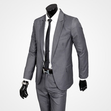 Fashion Men's Formal Suits Sets Slim Fit One Button Jacket Coat Pants Sets Blazer Light Gray/Black 002