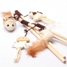 1 pcs New Pet Cat Toys Funny Wood Stick Dangle Mouse Ball With Feather Interactive Cat Play Elastic Rope Toy