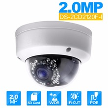 Buy Security IP Camera DS-2CD2120F-I 2.0 MP Fixed Dome IP Camera 1080P POE CCTV Camera SD Card Support Upgrade for $82.00 in AliExpress store