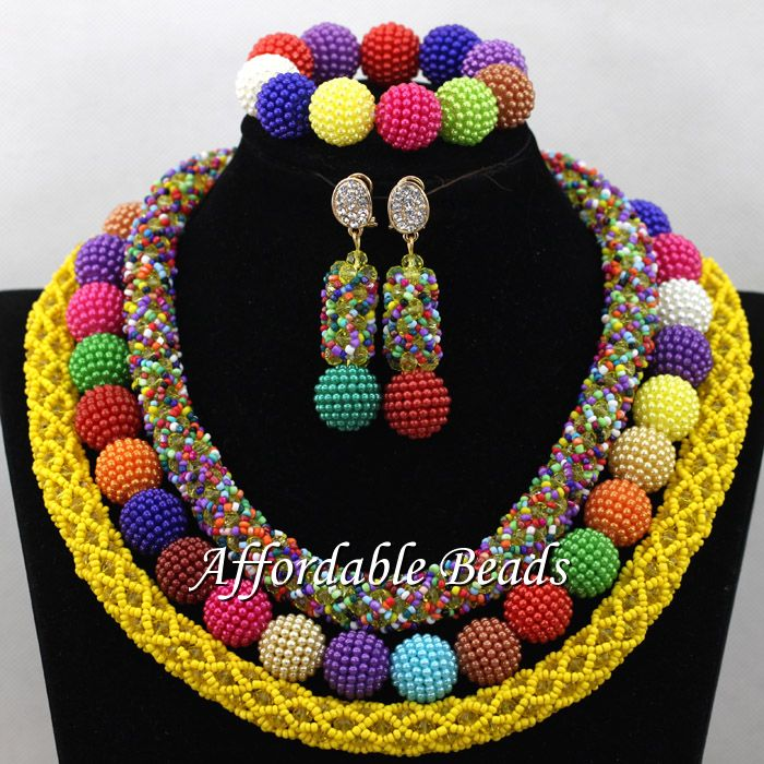 Colorful African Bridal Beads New Nigerian Beaded Jewelry Fashion Design Free Shipping NCD164
