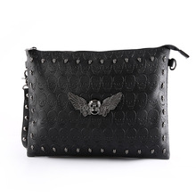 Chic Ghost Head Large Clutch Bag Stylish SKULL Rivet Crossbody Bag Men's Designer Ipad Bag Trendy Embossing Men's Clutch Bag