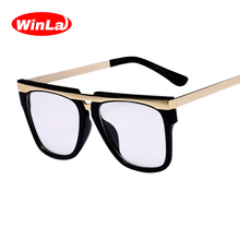 Winla 2017 New Arrival Square Glasses Frame Optical Points Classic Brand Designer Clear Lens Alloy Temple Glasses oculos W2497(China)
