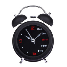 Table Clock Round Metal Alarm Clock Mechanical Retro Double Bell Desk Clock Light Design Alarms Black White