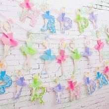 Hot sale! Ballet Girl ballerina Wedding Paper Flags Party Bunting Banner for Party Favors kids Birthday party Decoration