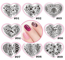 LOVE01-28 Love Heart Shape Nail Art Stamping Plates Stainless Steel DIY Flower Christmas Nail Stamp Template