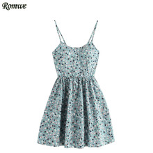 ROMWE Summer Dress 2017 Spaghetti Strap Cute Floral Dress Blue Ditsy Print Random Lace Up Back A Line Cami Dress