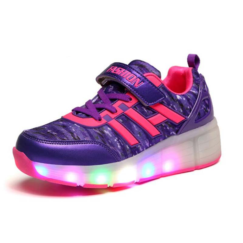 2017 Children Shoe With Single/Double Wheel Light LED Lights Sports Shoes Rollerblading Sneakers Girls Boys Kids<br><br>Aliexpress