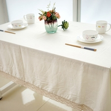 European Linen Table Cloth High Quality Pure White Tablecloths With Lace Outdoor Party Home Decor Banquet Dining Table Cover(China)