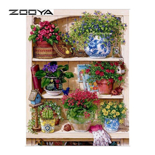 ZOOYA Warm Home Floral On The Shelf Diamond Embroidery Diy Diamond Paintings Mosaic Picture Pattern Cross Stitch Full Rhinestone