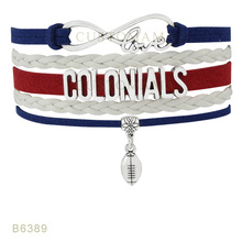Custom- Infinity Love Robert Morris Football Colonials RMU Charm Bracelets For Women Jewelry White Leather Wrap Bracelets