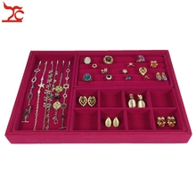 New 4Pcs Rose Red Velvet Jewelry Display Tray Ring Earring Holder Organizer Beads Collection Necklace Storage Tray 35*24*3cm(China)