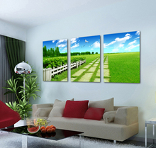 Hopeful Filed Green Grassland Scenery Canvas Painting Beautiful Living Room Contemporary Wall Art Home Decor Picture For Sale