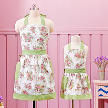[WIT]Mama and Me Apron Cotton Canvas Kitchen Apron for Women and Kid Girl Retro Pink Floral Printing Bib Apron with 2 Pockets