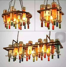 Creative Loft Bar Restaurant Cafe bar living room decorative bottle personalized artistic designer pendant lamp(China)