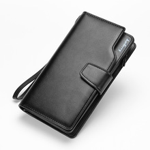 2016 Famous Brand Men Genuine Leather Long Wallet Zipper Soft Large Purse Male's Solid Burglar Robbed Business Clutch Wallets
