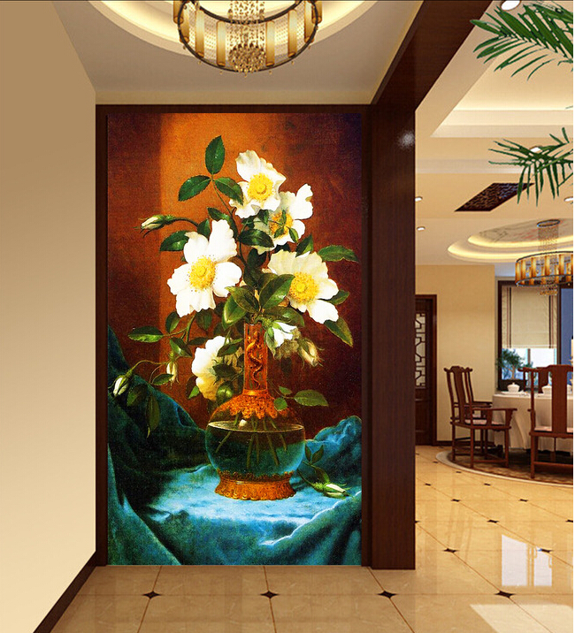 The custom 3D murals,flower vase painting porch corridor papel de parede,living room sofa TV wall bedroom wall paper<br>