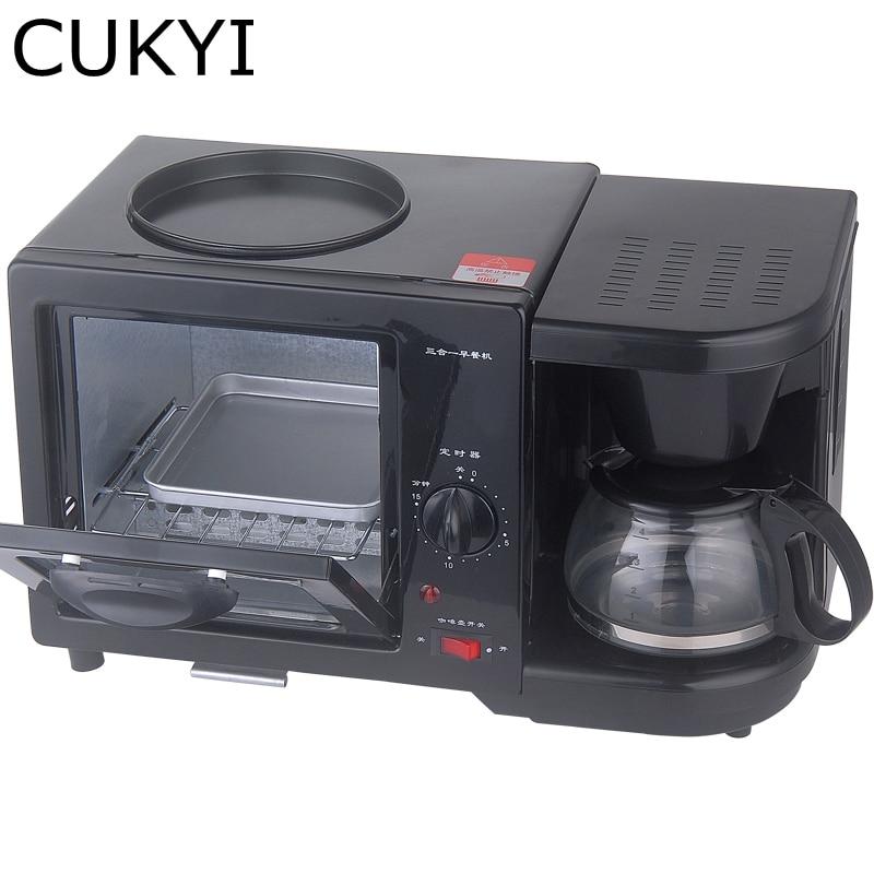 CUKYI Coffee maker frying pan mini oven 3 in 1 Breakfast Maker electric home appliance,black<br>