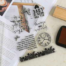 ZQSPFAFA Transparent Rubber Stamp Geometric Trendy Clock Chapter Famous Brand DIY Album Card Handbook Decoration Silica Gel Seal(China)