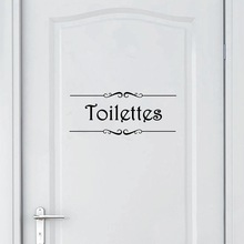 Wall-Sticker Decals Mural Porte Toilettes Vinyl Bathroom Home-Decor French Salle-De-Bain