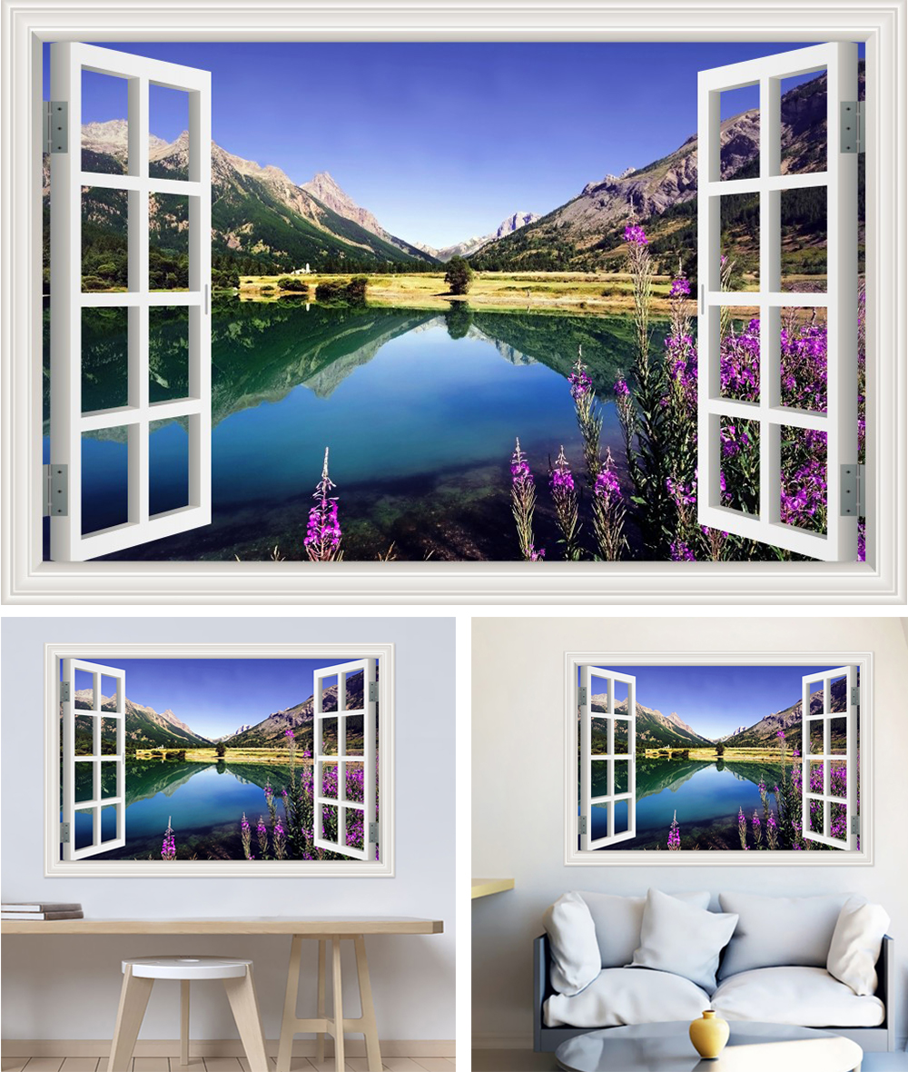 HTB1dYAUcJHO8KJjSZFtq6AhfXXai - Modern 3D Large Decal Landscape Wall Sticker Snow Mountain Lake Nature Window Frame View For Living Room