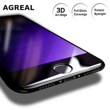AGREAL 9H 3D Full Cover Anti Blue Light Tempered Glass Screen Protector for iPhone 7 plus Curved Film Soft Edge for iphone 7()