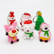 Christmas series dolls toy Light+Sound(Christmas Carol) Adorable Cartoon figure/Animal doll Pendant Giveaway Gift Torch Keychain