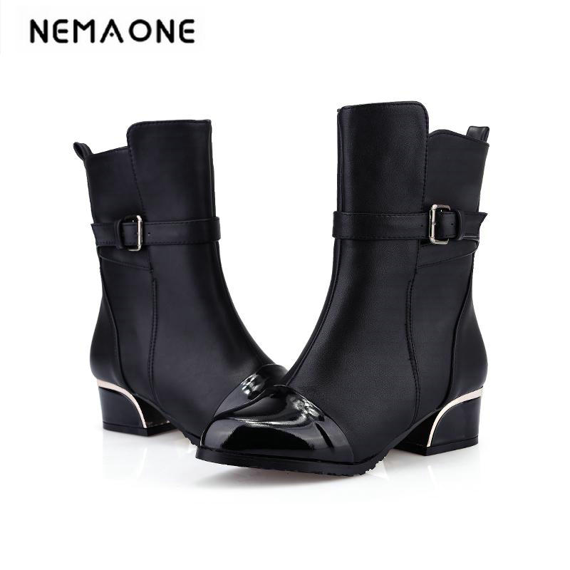 Big Size 33-43 Motorcycle Boot hoof Heels Shoes for Women Fashion Ankle Boots Spring Autumn Less Platform Women Shoes size 34-43<br>