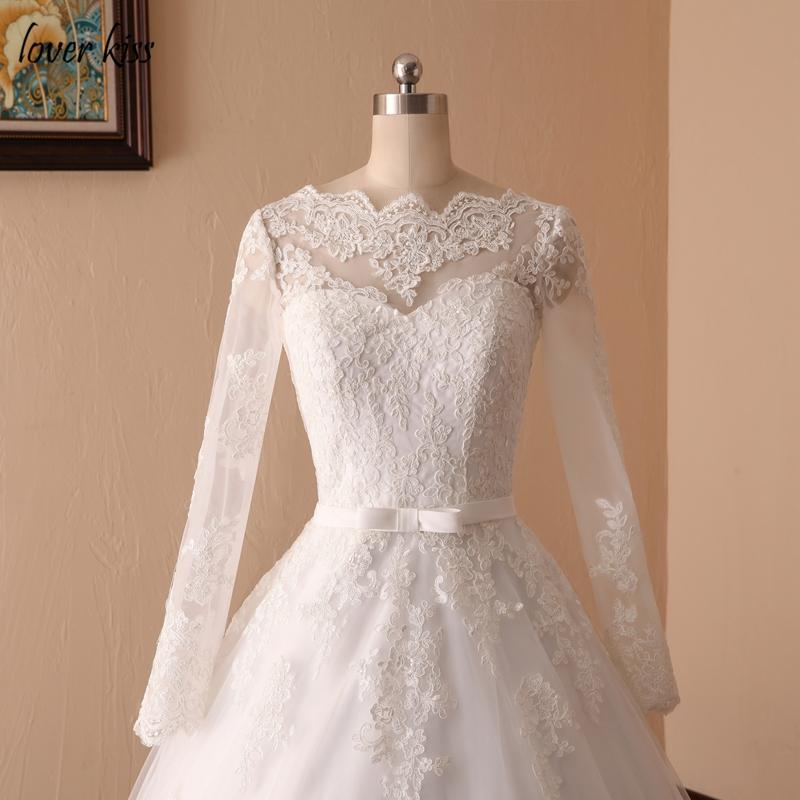 Lover Kiss Vestido De Noiva Custom Sheer Tulle Long Sleeve Wedding Dress Corset Back Lace Ball Gown Bridal Gowns For Weddings 11