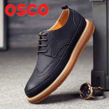 OSCO 2018 Autumn Winter new men's shoes 패션 숨 casual shoes flat 브로그 shoes Lace-업 leather shoes 남성(China)