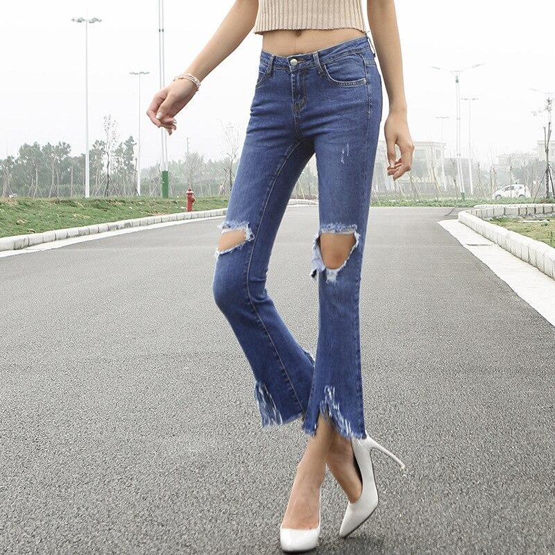 2017 Spring and Summer new arrival Holes Ankle-Length Tiny Horn Jeans Woman slim jeans 5509Îäåæäà è àêñåññóàðû<br><br>