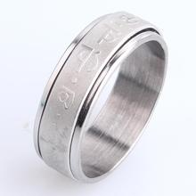 7mm spinner Sanskrit Six words 316L Stainless Steel finger rings for women men wholesale jewelry