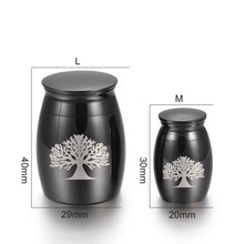 Mini Cremation Urn for Pet Ashes Jewelry Life Tree Stainless Steel Memorial Keepsake