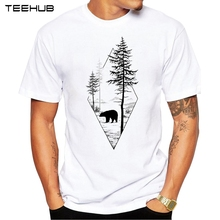2017 Forest Bear Men T-Shirt Short Sleeve Casual T Shirt Hipster Black Bear Printed Tee O-Neck Summer Tops(China)