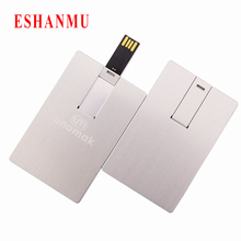 Aluminum business card usb flash drive pen drive 4GB 8GB 16GB 32GB pendrive memory stick credit card usb custom Logo