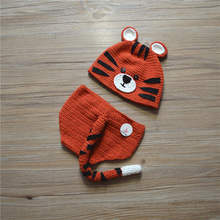 .Crochet Tiger Photography Props Design Baby Newborn Photography Props Knitted Baby Tiger Costume Crochet Baby Clothes Set 2017