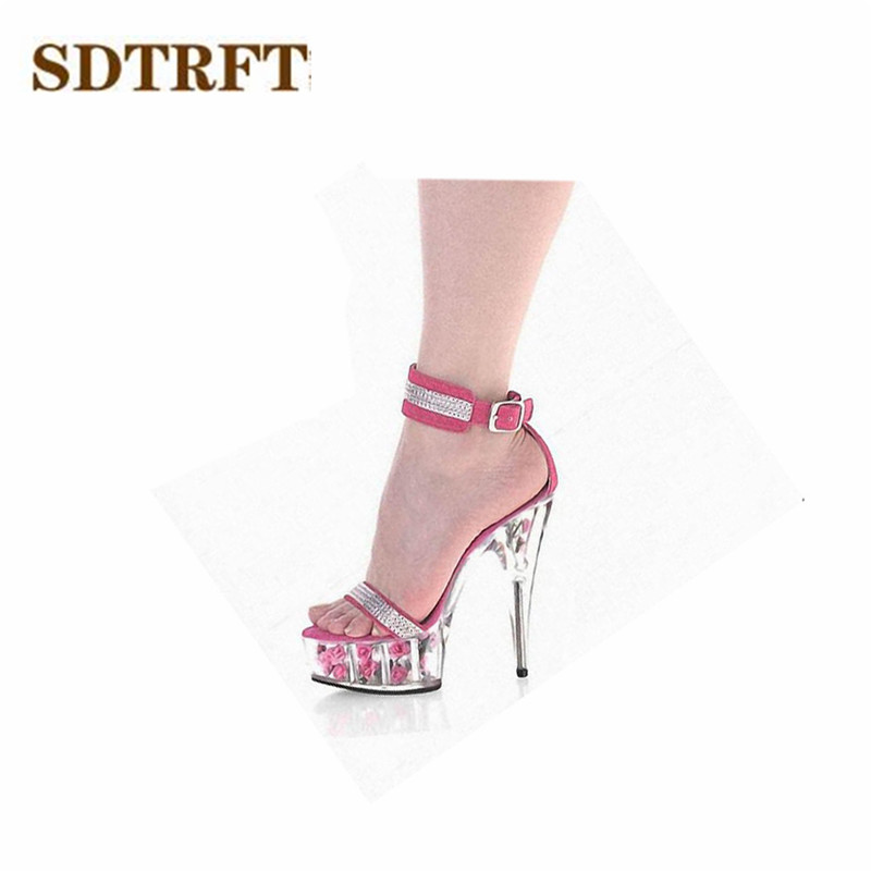 SDTRFT:35-45 46 SUMMER zapatos mujer Peep Toe sandals 15cm thin heels Flowers crystal platform sexy woman shoes wedding pumps<br>