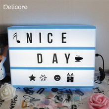DELICORE New Colorful Light Box A4 Size Battery And USB DC PORT Energization mode LED Cinema Lightbox With 252 letter Pack 178