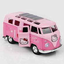1:64 Alloy Pull Back Bus For Children Metal Material Pink Model Toy Alloy Bus Toy For Girls