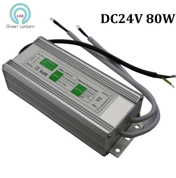 High Power 24V 80W IP67 Waterproof LED Power Supply AC110-260V to DC24V Electronic LED Driver Switch Transformer Adapter<br><br>Aliexpress