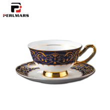 200ML Creative Pattern Ceramic Bone china Coffee Cup with Saucer Kit Gold Border Royal Black Tea Cup Milk Mug for Wedding Gifts(China)