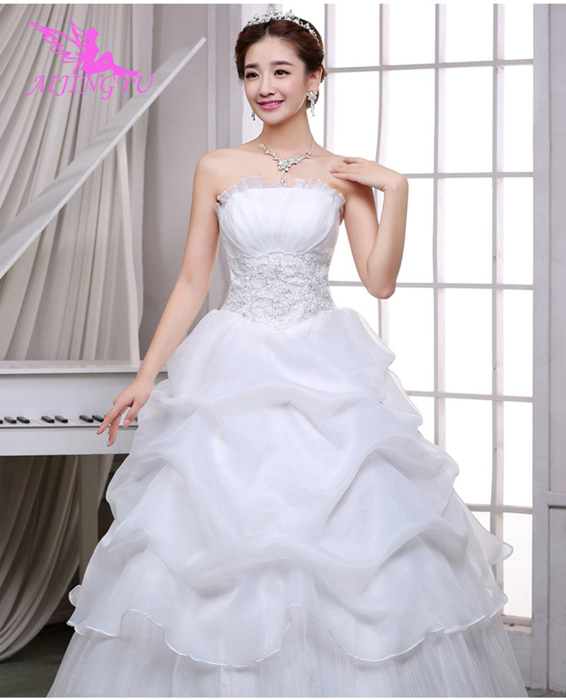 AIJINGYU 2018 wholesale free shipping new hot selling cheap ball gown lace up back formal bride dresses wedding dress FU136