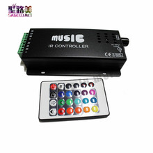 best price DC12-24V 24 Keys music controller IR remote RGB controller Sound Sensitive for 5050 3528 led strip light lamp(China)