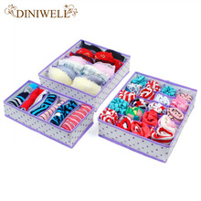 DINIWELL 4 Color Home Storage Underwear Bra Organizers Foldable Storage Boxes For Socks Ties Lingerie Drawer Container Organiser