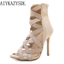 AIYKAZYSDL Women Pumps Open Toe Cross-tied Strappy High Heels Shoes Gladiator Summer Bootie Flock Stretch Shoes 2018 Sandals(China)