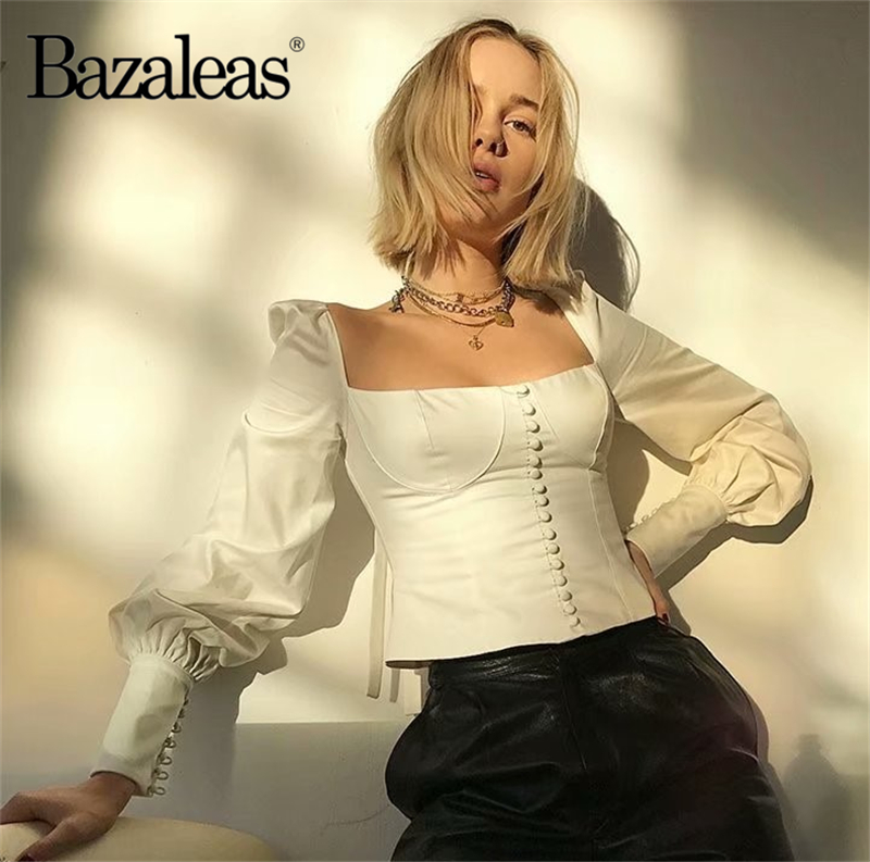 Bazaleas Fashion Women blouse Center Buttons blusa Backless bow Women blusas Casual Chic womens tops and blouse feminina