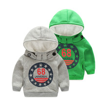 HOT boys winter clothes thick cotton kids coat clothing children Hoodies grey green jacket size 100-140