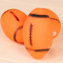 Drop shipping Dog Squeaky Toy For Pet Dog Chew Toy Small Rubber Squeaky Rugby Ball Orange Toy for Dogs